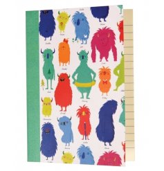 A colourful A6 lined notebook from the popular Monsters of the World range