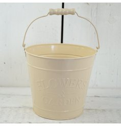 A medium cream zinc bucket with 'flowers & garden' embossed on side