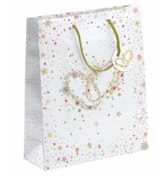 A medium wedding present gift bag with twin rings design