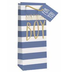 This blue stripe gift bag is a quick, easy and stylish way to wrap bottles for the Birthday Boy.