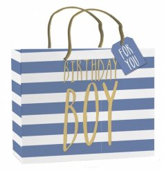 A stylish large gift bag with tag. Perfect for those special gifts for the birthday boy.