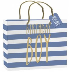 A stylish extra large gift bag with tag. Perfect for those special gifts for the birthday boy.