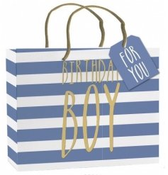 A stylish medium sized gift bag with tag. Perfect for those special gifts for the birthday boy.