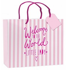 "A large pink and white striped gift bag with ""welcome to the world little lady"" slogan on the side"
