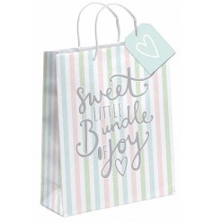 "A large pastel striped gift bag with ""sweet little bundle of joy slogan"""
