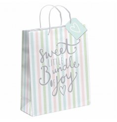 "An XL pastel striped gift bag with ""sweet little bundle of joy slogan"""