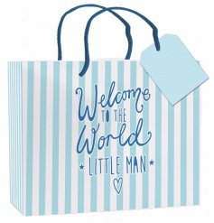 "A Medium blue and white striped gift bag with ""welcome to the world little man"" slogan"