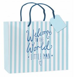 "A large blue and white striped gift bag with ""welcome to the world little man"" slogan"