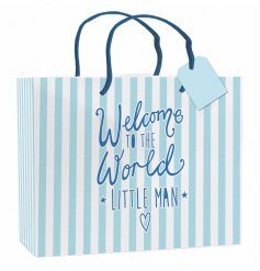 "An XL blue and white striped gift bag with ""welcome to the world little man"" slogan"