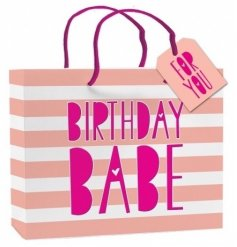 A medium sized stylish pink and white stripe gift bag with a Birthday Babe slogan with a gift tag.