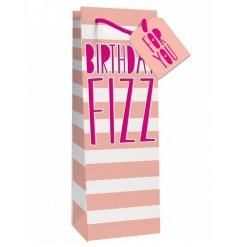 A bold and beautiful pink stripe gift bag with a 'Birthday Fizz' slogan and 'For You' gift tag.