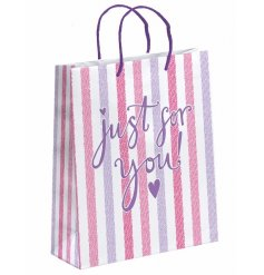 A pink striped gift bag, Just for you, Medium.