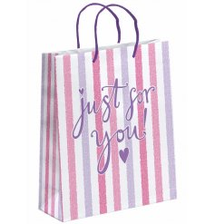 A pink striped gift bag, Just for you, Large.