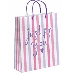A pink and white striped gift bag, just for you, XL.