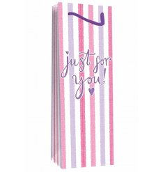 A pink striped bottle gift bag, just for you.