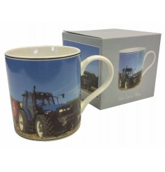 A vintage themed Tractor Printed China Mug, a great gift idea for any fond farmer