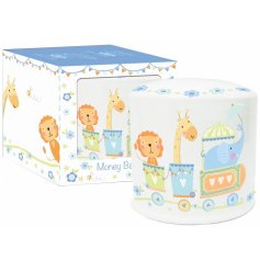 A beautiful ceramic money box with a circus design print. A lovely gift item to be treasured.