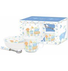This charming baby boy breakfast set includes a bowl, spoon and mug. Each item is decorated with a lovely circus design.