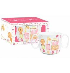 A charming baby girl twin handled ceramic cup with a lovely circus design.
