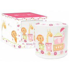 A pretty circus design ceramic money box with matching gift box. A lovely gift item for little ones.