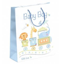 A charming circus themed gift bag for baby boys. Perfect for wrapping presents for many different occasions.