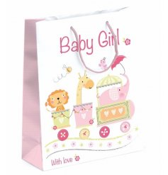 A pretty medium sized baby girl gift bag with an adorable circus design print.