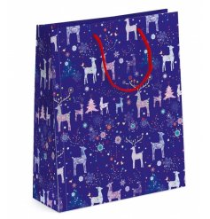 A fine quality reindeer and Christmas tree design gift bag with metallic detailing.