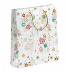 A pretty pastel coloured bauble design gift bag with metallic detailing. A stunning way to wrap gifts this season.