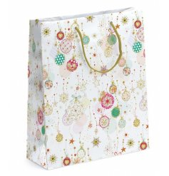 A fine quality and unique bauble design gift bag with metallic detailing. Perfect for gifting those special Christmas gi