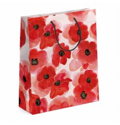A beautiful watercolour style poppy design gift bag.