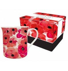 A beautifully poppy print mug with a matching gift box.