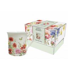 A single boxed poppy garden mug
