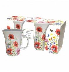 A set of 2 fluted poppy garden mugs