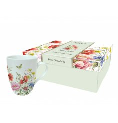 A set of 4 bone china poppy garden mugs