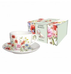 A vintage styled floral poppy themed fine china mug and saucer, bring into your home to add that beautiful botanical fee