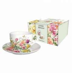 A vintage styled floral themed fine china mug and saucer, bring into your home to add that beautiful botanical feel