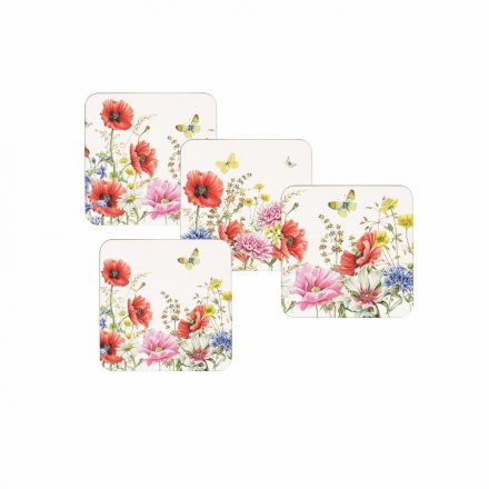 Poppy Garden Set 4 Coasters 36042 Interior Decor Kitchen Rosefields