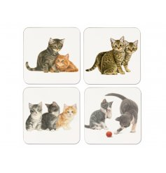 add a warm tabby touch to your home with these cute little coaster sets