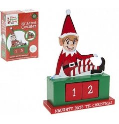 A naughty elf wooden christmas countdown