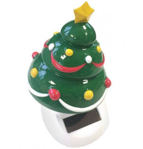 A comical dancing Christmas tree powered by solar.