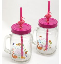 An assortment of 2 glass drinking jar with flamingo straws