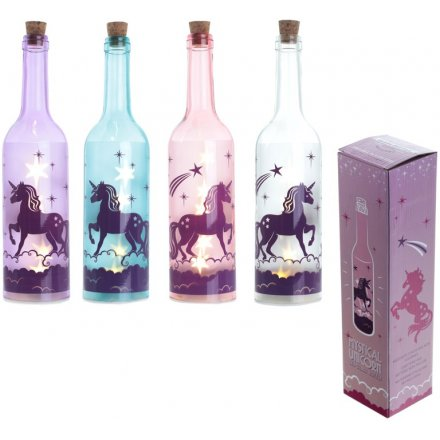 An assortment of 4 LED unicorn bottles