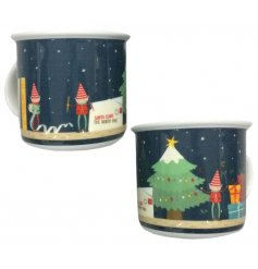 A christmas elf china mug in the style of enamel