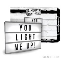 A mini LED light box with a cinematic feel, letters included.