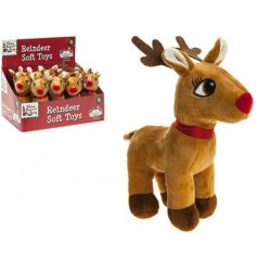 A plush reindeer soft toy