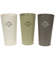 An assortment of tall flower buckets, each set with its colour and scripted text decal