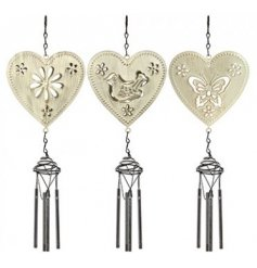 3 shabby chic themed hanging wind chimes. Each styled in a sweet butterfly, flower or bird design