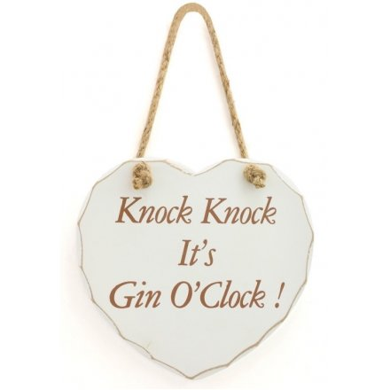 Gin O'Clock Heart Plaque