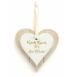 Its always Gin o'clock with this funky double heart plaque!
