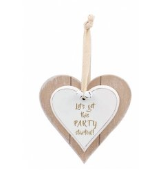 This forever popular double wooden heart plaque will hang perfectly in any space its put in